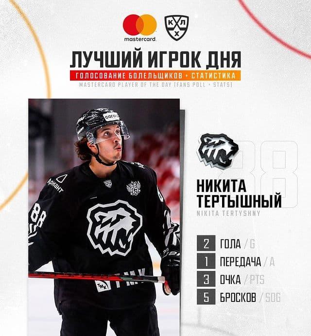 Никита Тертышный - лучший игрок дня в КХЛ